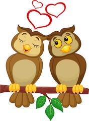Cute couple cartoon owl  in love