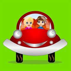 merry pair in a car on a green background