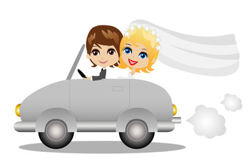 beautiful groom with fiancee go in a wedding trip on a car