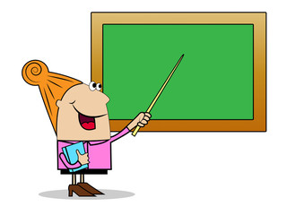 woman a teacher shows on a school board a pointer
