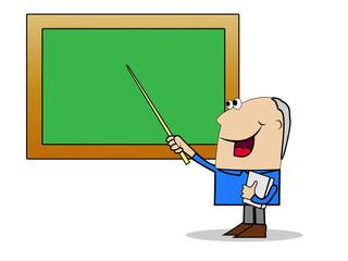 man a teacher shows on a school board a pointer