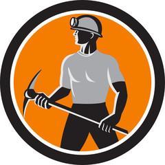 Coal Miner Holding Pick Axe Side Circle Retro