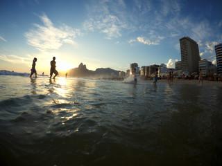Ipanema Beach Rio de Janeiro Brazil Silhouettes