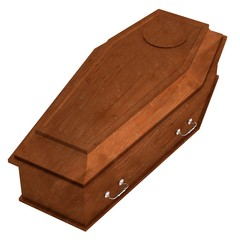 realistic 3d render of coffin