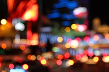 Foto auf AluDibond Las Vegas Las Vegas night - defocused city lights