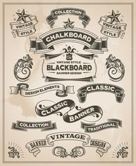 Vintage retro hand drawn banner set - vector illustration