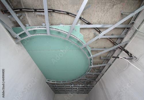 Split-level ceiling metal frame for plasterboard\