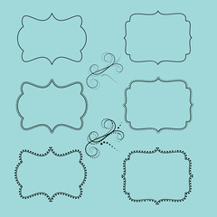 set of retro labels or frames and design elements