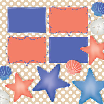 Beach and ocean layout with starfish, sand dollars and shells