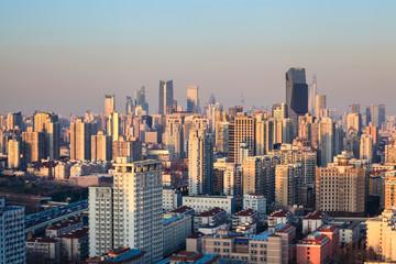 modern city at dusk in shanghai