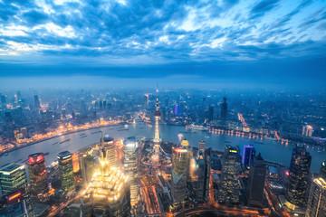 Fotobehang - nightfall view of shanghai