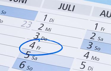 Kalender 4. Juli