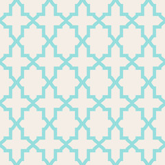 Simple abstract arabesque pattern - turquoise and beige.