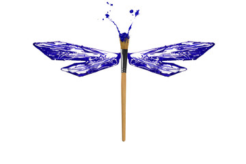 Blue and white paint made dragonfly
