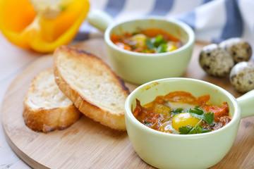 Quai eggs with vegetables for breakfast horizontal