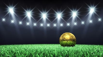 Obraz premium Arena piłkarska i złota piłka, stadion piłkarski