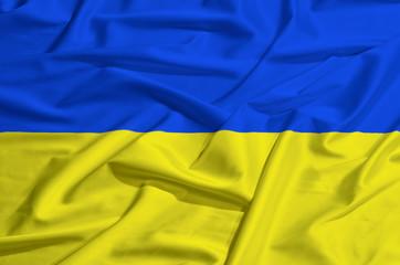 Flag of Ukraine on silk drape