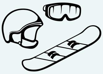 Set equipment for snowboarding. Snowboard, helmet and mask