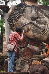 Traveler at Kamphaeng Phet Historical Park Aranyik area