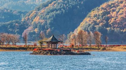 Garden Poster Temple Lake Kawaguchiko in Japan