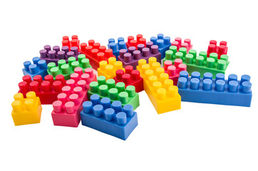 building blocks scattered on a white background