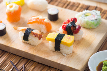 various sushi food with backgrounds