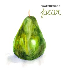 Background with watercolor pear