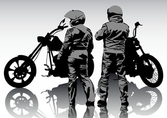 Wall Mural - Couple bikers in suit