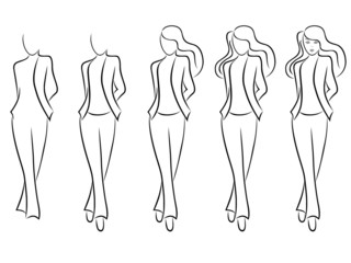 Sequence of drawing a beautiful female contour