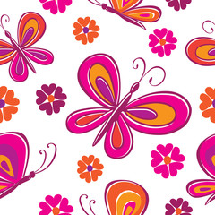 Seamless pattern. Butterflies and flowers.