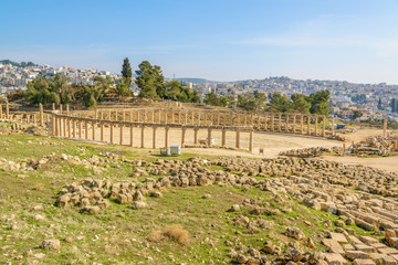 Ruins of Oval Forum in Jerash, Jordan.