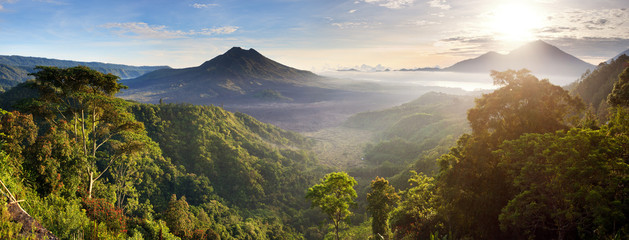 Poster Indonesia Panorama of Batur and Agung volcano mountain Bali, Indonesia