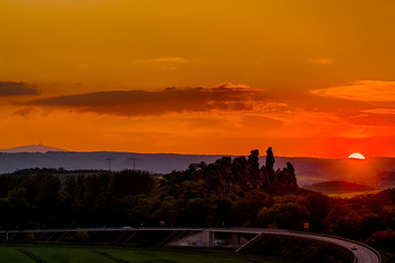 Teufelsmauer bei Thale im Sonnenuntergang