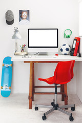 Desk in a child's bedroom.