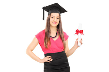 Beautiful girl with mortarboard holding a diploma