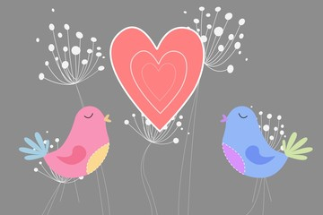 Love birds with heart and dandelions