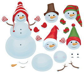 Vector snowman template, make own snowman,  snowman can change f