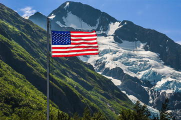 US Flag at Byron Glacier