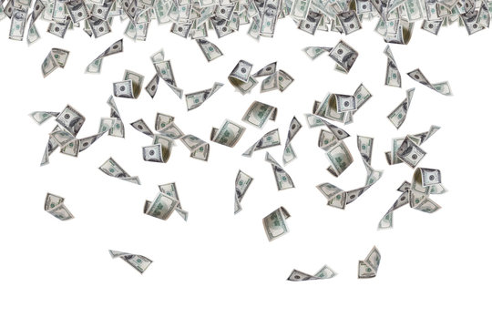 Dollar Banknotes Flying and Raining