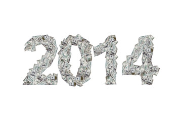 Year 2014 with Dollar Banknotes