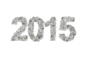 Year 2015 with Dollar Banknotes