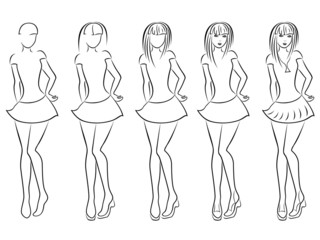 Attractive women contour in drawing sequence
