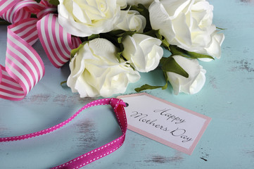 Happy Mothers Day gift of white roses bouquet