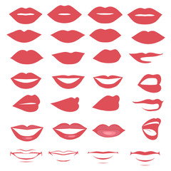 man and woman vector lips and mouth,  silhouette and glossy,