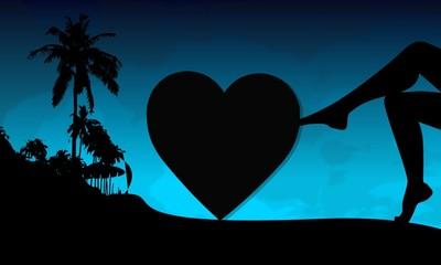 heart sign on a beach