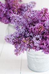 Poster Bloemen Two bouquet of lilac flowers