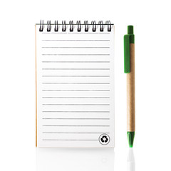 Recycled paper notebook with Recycle logo and pen.
