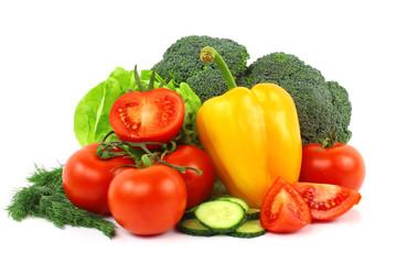 Kolorowe warzywa na białym tle