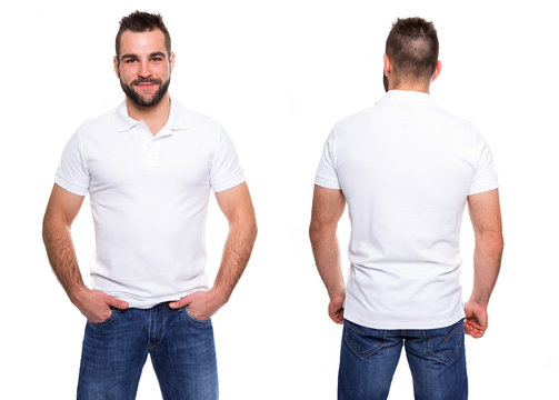 White polo shirt on a young man template