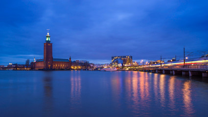 View of Stockholm 's City Hall at Twilight, Sweden